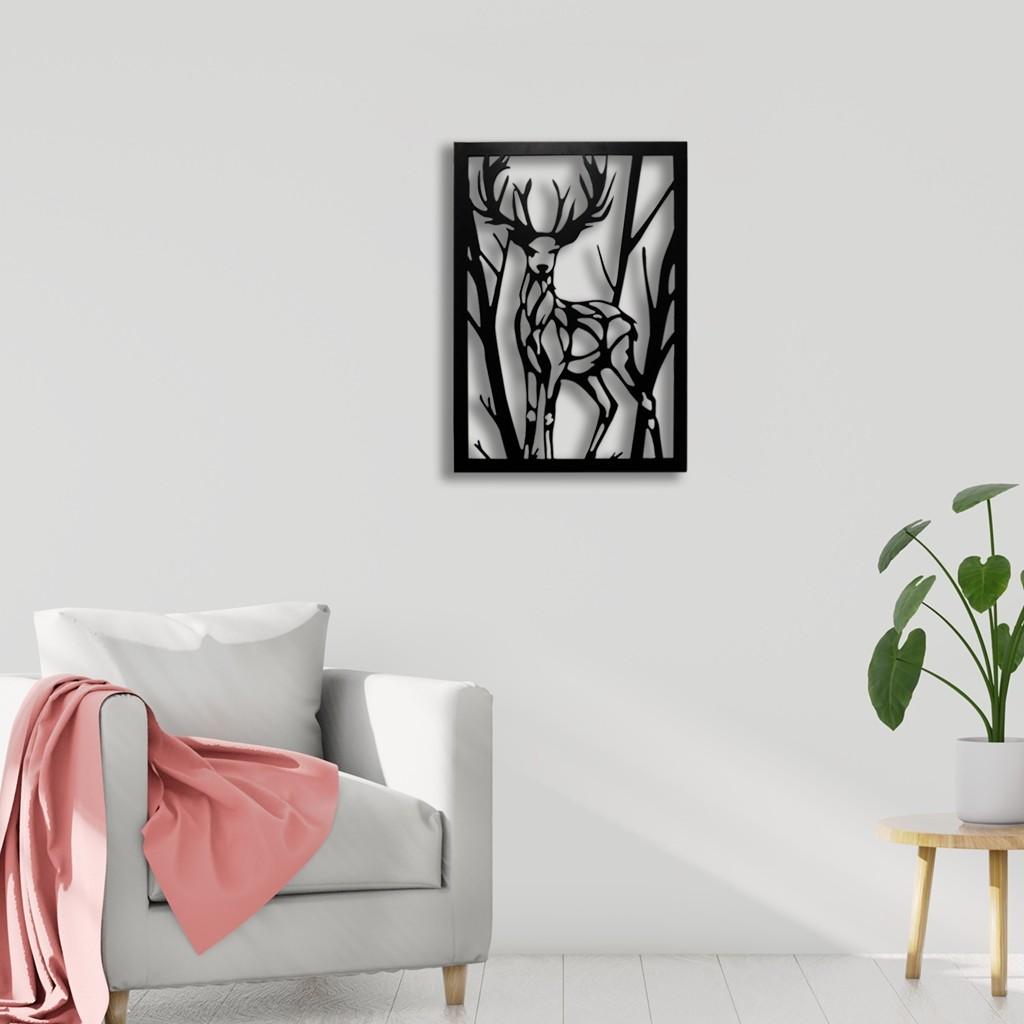 Black Deer Wall Art Hanging