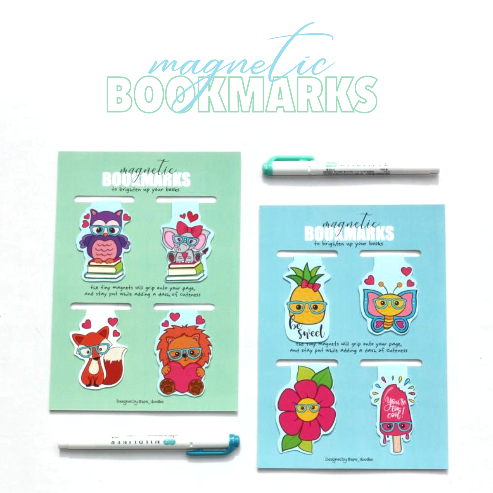 Magnetic bookmarks - Set 2
