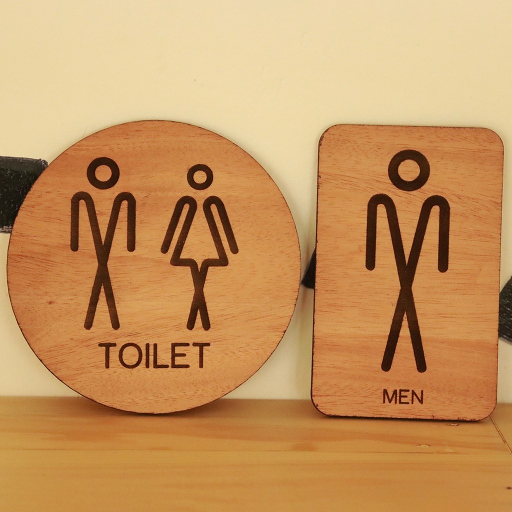 Wooden Toilet Signs