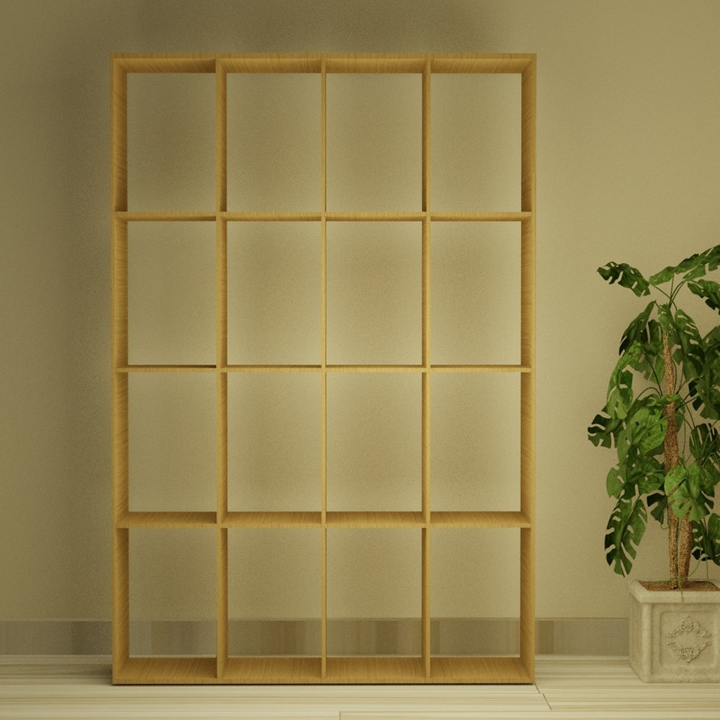 Squared Sixteen Wooden Shelf