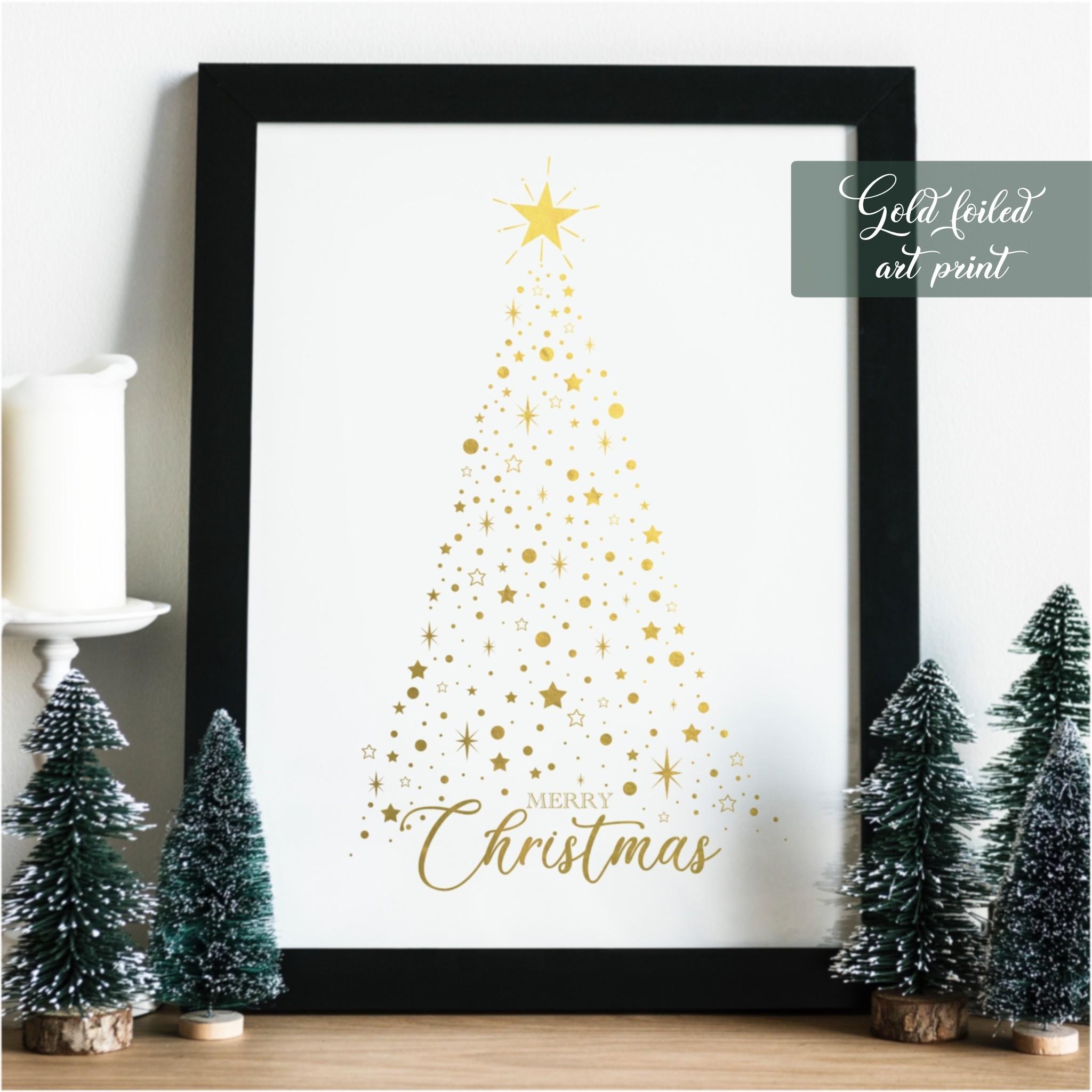 8x10 Foiled Christmas Framed Print(Christmas tree)