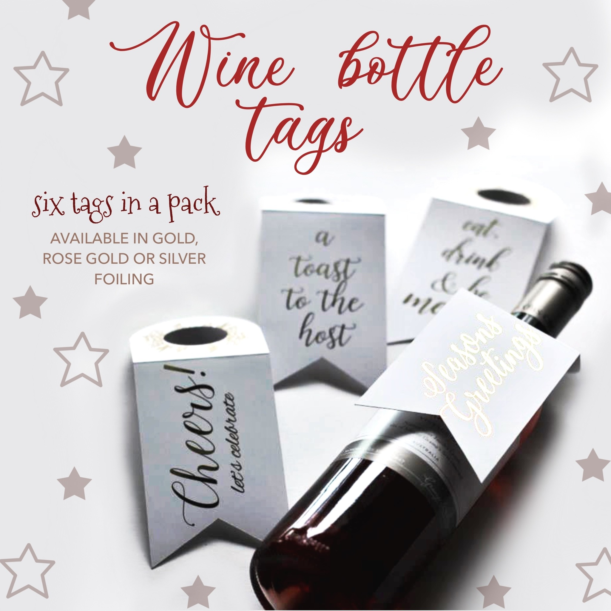 Wine Bottle tags (Foiled)