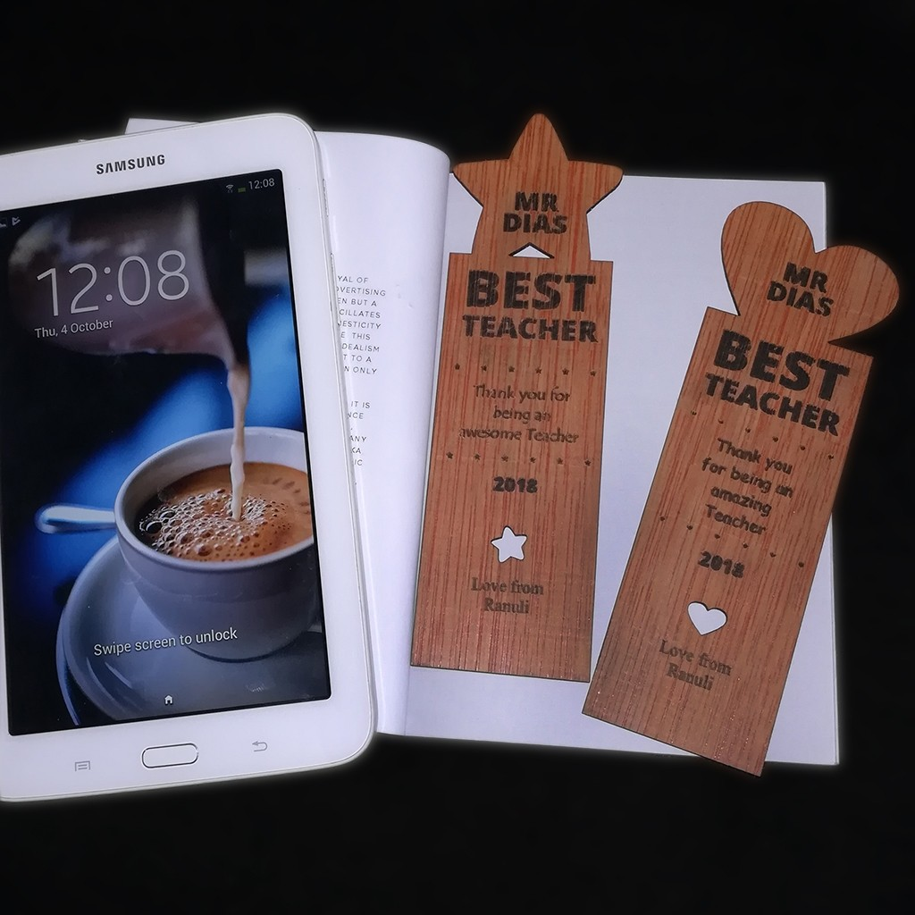 Teacher's Day Wooden Bookmark