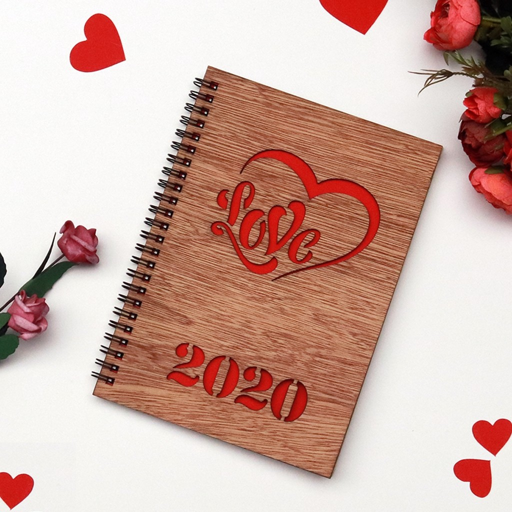 Valentine's Day Wooden Notebook