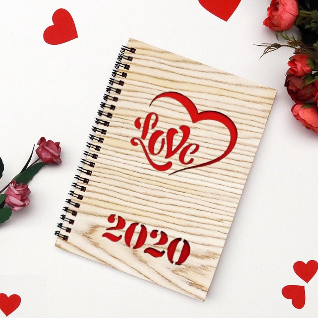 Valentine's Day Wooden Notebook