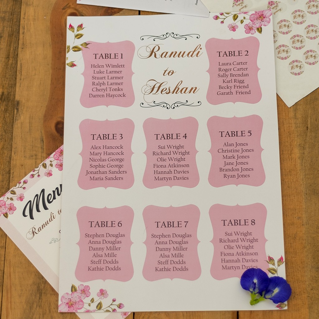 Wedding Guest Table Plan