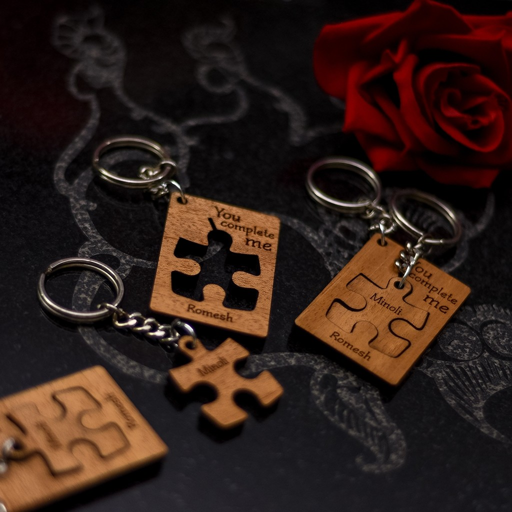 You Complete Me Jigsaw Key Tag