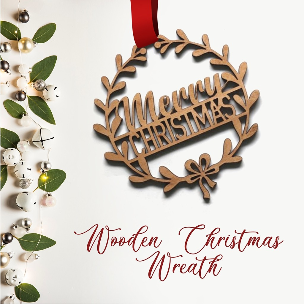 Wooden Christmas Wreath - Merry Christmas and wreath with bow