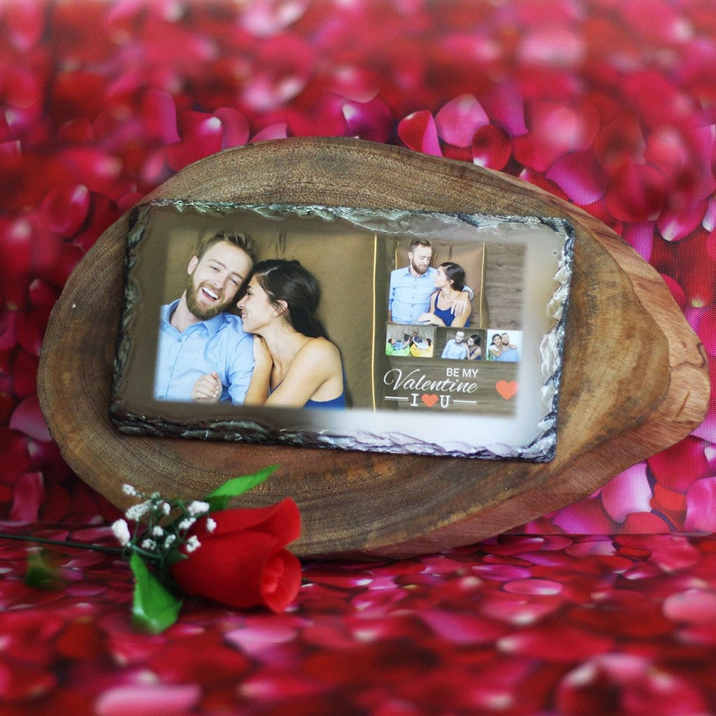 Photo Print on Rock Surface on a Log Slice
