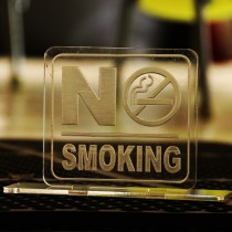 No smoking sign with stand  (Clear Plastic)