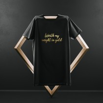 Black Tshirt with Gold Text