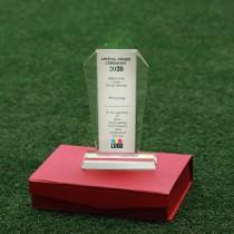 Tall Pentagon Crystal Trophy