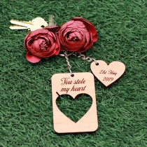 Wooden Heart Key Tag Set for couples