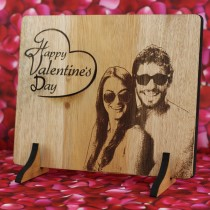 Laser Etched Photo on Wooden Surface