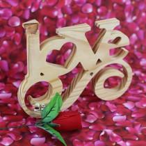 LOVE Swirl Cut in Wood