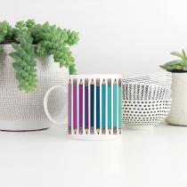 Rainbow pencil mug