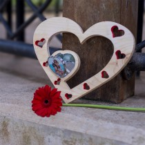 Valentine's Day Wooden Heart Mirror Feature