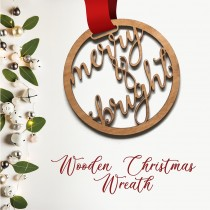Wooden Christmas Wreath - Merry and Bright
