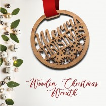 Wooden Christmas Wreath - Merry Christmas and snow flakes