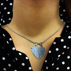 Metal Split Heart Pendant