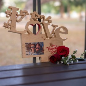 Valentine's Day Wooden Carvings with Photo Print